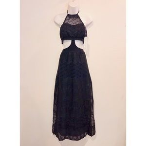 Beach Bunny Swimwear Black Halter Cutout Lace Maxi